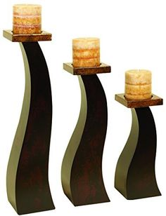 Benzara Wood Candle Holder an Special Occasion Decoration, Set of 3