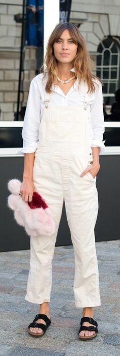 Alexa Chung in white overalls and bikrenstocks