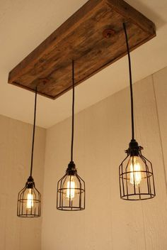 Cage Light Chandelier with 3 Lights, Cage Lighting - Edison Bulb - Upcycled Wood