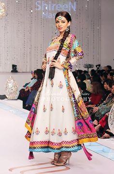 Vibrant, Beautiful Anarkali Dress by Pakistan Designer Shirin Hassan Pakistani Couture, Indian Couture, Pakistani Outfits, Indian Outfits, Pakistani Bridal, Indian Bridal, Mehndi Outfit, Sangeet Outfit, Mehndi Dress