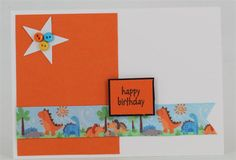 Card for males using Craft Queen dinosaur ribbon. www.craftqueen.com.au
