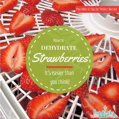 How to Dehydrate Strawberries - Hints and Tips for Perfect Dried Berries - simple and easy ways to make homemade dried fruit for snacking and baking. Dehydrated Strawberries, Freeze Dried Strawberries, Dehydrated Food, Strawberry Recipes, Fruit Recipes, Snack Recipes, Recipies, Herb Drying Racks, Drying Herbs