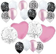 "Amazon.com: Custom, Fun & Cool {Big Large 11""-18"" Inch} 20 Pack of Helium & Air Inflatable Mylar/Latex Balloons w/ Modern Girly Damask Hearts Swirl Design [in Pastel Pink, White, Silver & Black]: Toys & Games"