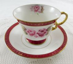 Vintage Tea Cup and Saucer by Shafford with Pink Rose and Red Border
