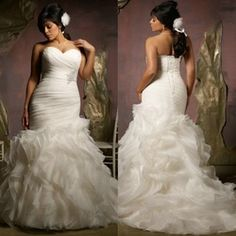 Online Shop New Design 2014 Ivory Organza Ruffle Skirt Hot Sale Mermaid Wedding Dress Plus Size Bridal Gown|Aliexpress Mobile