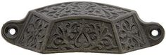 "3 7/8"" Decorative Iron Bin Pull With Antique Iron Finish 