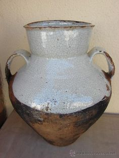 EXTRAORDINARIA PIEZA DE CERAMICA VASCA. OLLA DE BARRO VIDRIADA (antique basque cooking pot)