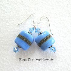 Periwinkle Blue Dangle Earrings, Handmade Lampwork Beads, Hawaii... ($35) ❤ liked on Polyvore featuring jewelry, earrings, handcrafted earrings, boho earrings, beaded earrings, blue bead earrings and druzy earrings