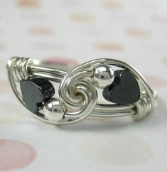Wire Wrapped Ring Hematite and Sterling Silver