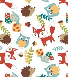 Nursery Fabric-3D Mr Fox & Friends Toss flannel