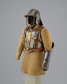 Harquebusier's Armor of Pedro II, King of Portugal (reigned 1683–1706) with Buff Coat Armor attributed to Richard Holden  (British, London, recorded 1658–1708) Date: ca. 1683 Geography: London Culture: British, London Medium: Steel, gold, leather, textile MET
