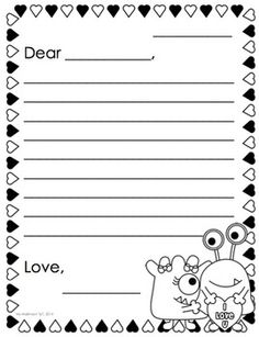 Free friendly letter writing template with scaffolding for february printables kindergarten literacy and math spiritdancerdesigns Gallery