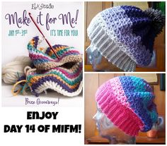 Do you need an easy and fun hat pattern!  Choose Day 14 of MIFM!