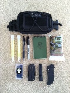 My Compact All-Day Carry Pouch. This pouch contains basic essentials that I carry either on my person, stored in my vehicle or attached to another pack. Maxpedition Janus, Pen, Sharpie, Rite-In-The-Rain Notepad, Chemlights, SWAT-T Tourniquet, Survival Kit, Gerber Multi-Tool, Flashlight and Tactical Knife.