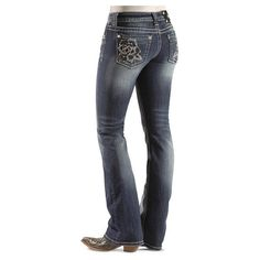 da8def6a9ec Miss Me Rhinestone Embellished Rose Embroidered Pocket Boot Cut Jeans...  ($99) found on Polyvore