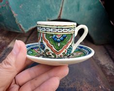 Small Espresso Cup and Saucer from Southern Spain, Talavera Pottery Green Kitchen, Demitasse Teacup