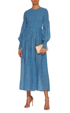 Ganni Beacon Smocked Cotton And Silk-Blend Maxi Dress