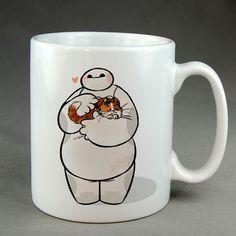 baymax and mochi warm hug, baby hairy, customized mug, ceramic,  two sided mug