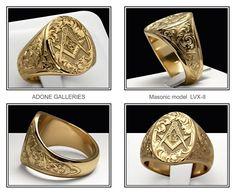 One of my favorite MASONIC rings. By Adone Pozzobon of Adone Galleries. Masonic Art, Masonic Jewelry, Masonic Lodge, Masonic Symbols, Custom Signet Ring, Freemason Ring, Body Jewelry Shop, Fine Jewelry, Freemasonry
