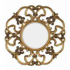 Wall mirror with a trellis frame in antique bronze and gold.     Product: MirrorConstruction Material: Urethane and mirrored glassColor: Antique gold and bronzeDimensions: 30 Diameter