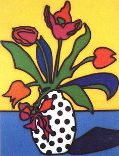 Tulips and Spotted Vase 1986  Patrick Caulfield