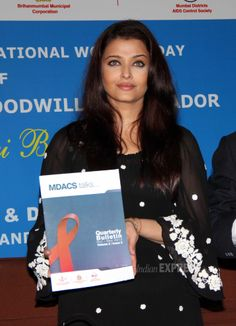 Bollywood actress Aishwarya Rai Bachchan addressed a press conference for UNAIDS country mission on HIV on the occasion of International Women's Day (March 8) at the Bhabha Municipal Hospital in Mumbai