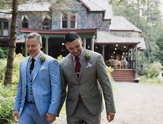 Handsome grooms in front of the historic Catskills lodge   | Wedding in the Woods at Spillian, A Place to Revel