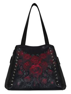 Decorated with dripping blood red roses and a series of studs, Spiral bring you this beautiful tote bag. With a patterned black and red inner lining and side zips so you can adjust the overall size, this is sure to add an instant dose of Gothic glam to your outfit.