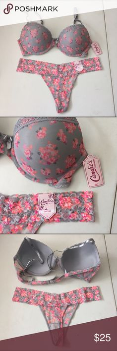 Candies Bra and Panty Set NWT 36C large thong Candies Bra and Panty Set NWT 36C large thong super cute set!! Candie's Intimates & Sleepwear Bras