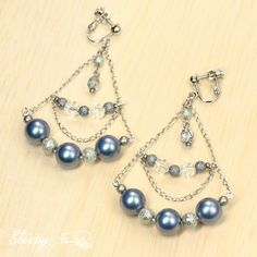 Earrings シルキーパールchandelierイヤリング ピアス ハンドメイド インテリア 雑貨 Handmade ¥930yen 〆11月14日