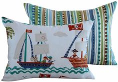 Pirates in Paradise Boudoir Pillow great for the little fold out couch! Lumbar Throw Pillow, Throw Pillow Covers, Throw Pillows, Fold Out Couch, Pirate Bedroom, Log Cabin Designs, Design Textile, Kids Pillows, Designer Pillow