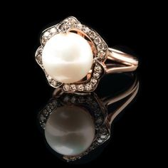 rose gold pearl and diamond engagement ring - My Engagement Ring