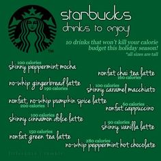 Love your Starbucks, but starting to worry about the onslaught of the calorie-rich holiday season? Enjoy these modifications to make your Starbucks fit in without the guilt. Low Cal Starbucks, Healthy Starbucks Drinks, Yummy Drinks, Healthy Drinks, Get Healthy, Healthy Eating, Healthy Recipes, Starbucks Calories, Healthy Foods