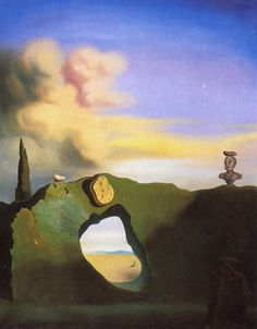 Sunday Dalí: The Triangular Hour, 1933. Oil on canvas, 61 x 46cm.    From Dalí-Gallery:        The watch is mounted on a rock formation as if hung on a kitchen wall. Underneath is a hole in the rock through which we see an Ampordan plain, where the figure of a child with a hoop can be seen. At the top of the rock formation is the bust of a Classical man, his face in a grimace. Dalí has placed rocks on top of the bust, as well as on top of the rock formation and on the other rock in the…
