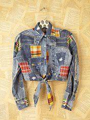Vintage Denim Patchwork Shirt. Awesome DIY too.
