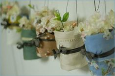 vintage handkerchief wrapped mason jars.  (tutorial) might do something like this hanging from the mantle.