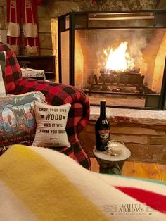 Buffalo Plaid, Hudson Bay Blanket, Pendleton, Baileys, Roaring Fire, Fireplace, Cozy