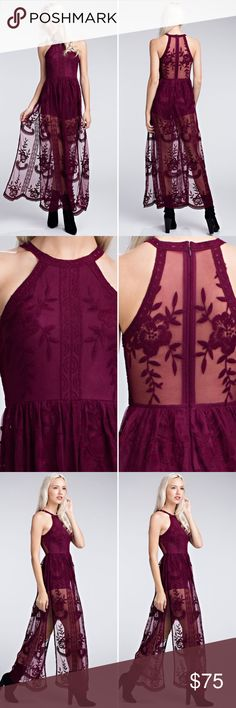 d58d8838f3b Halter Lace Maxi Romper    COMING SOON!    The Honey Punch lace maxi romper  now comes in a halter style!