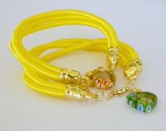 Neon yellow bracelet satin cord bracelet high fashion by craftysou, $15.00