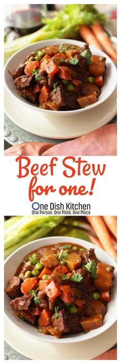 Beef stew for one! one dish kitchen dinner for 2 Buffalo Chicken Wraps, Kitchen Dishes, Food Dishes, Beef Recipes, Cooking Recipes, Batch Cooking, Easy Recipes, Pan Cooking, Food Dinners