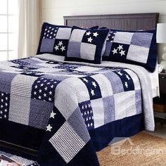 Mediterranean Stars Grid Style Cotton Bed in a Bag Plaid Quilt, Rag Quilt, Quilt Top, Quilt Blocks, Patchwork Quilt Patterns, Patchwork Bags, Cute Quilts, Boy Quilts, Designer Bed Sheets