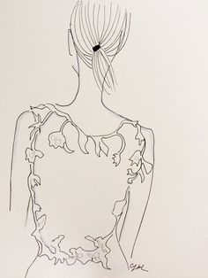 Oscar de la Renta bridal illustration by The Cartorialist.