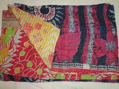 Vintage Kantha Quilt Gudri Reversible Throw Ralli India A 712. $79.00, via Etsy.