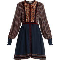 Talitha Athena Ashanti-print silk dress (€645) ❤ liked on Polyvore featuring dresses, black multi, boho chic dresses, silk print dress, geometric print dress, pattern dress and mixed print dress