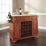 Lafayette Natural Wood Top Wine Island in Classic Cherry
