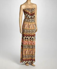 Look at this #zulilyfind! Brown Abstract Stripe Strapless Maxi Dress by Loveappella #zulilyfinds