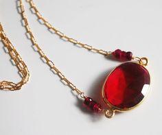 Ruby Red Quartz  Connector Neclace  on gold by ferozasjewelery, $60.00