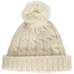 John Lewis Rope Cable Knit Pom Pom Beanie Hat, Cream (92 RON) ❤ liked on Polyvore featuring accessories, hats, pompom hat, cream beanie, beanie cap, cable knit hat and cable beanie hat