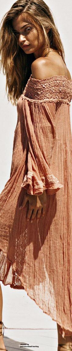 Boho Style peach crinkle cotton dress with crochet trim