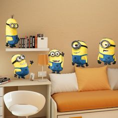 DESPICABLE ME 2 wall stickers Vinyl Art decals room kid decor MINIONS Removable  US $2.84